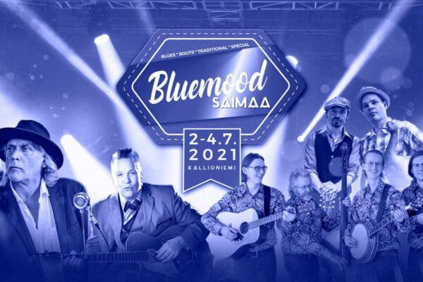Bluemood Saimaa -tapahtuman mainos, jossa esiintyjien kuvia sinisellä pohjalla