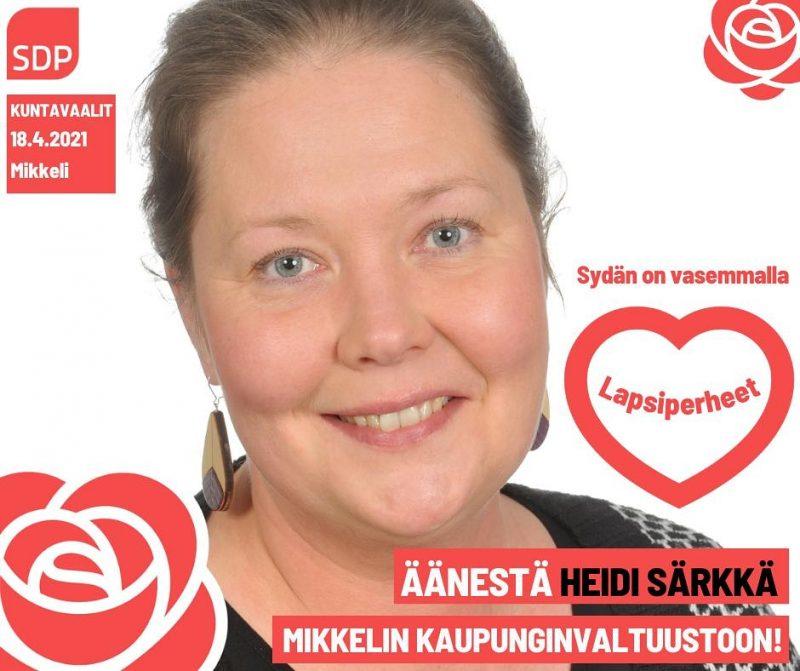 Potretti Heidi Särkästä. Kuvan päällä lukee sydän on vasemmalla ja lapsiperheet.